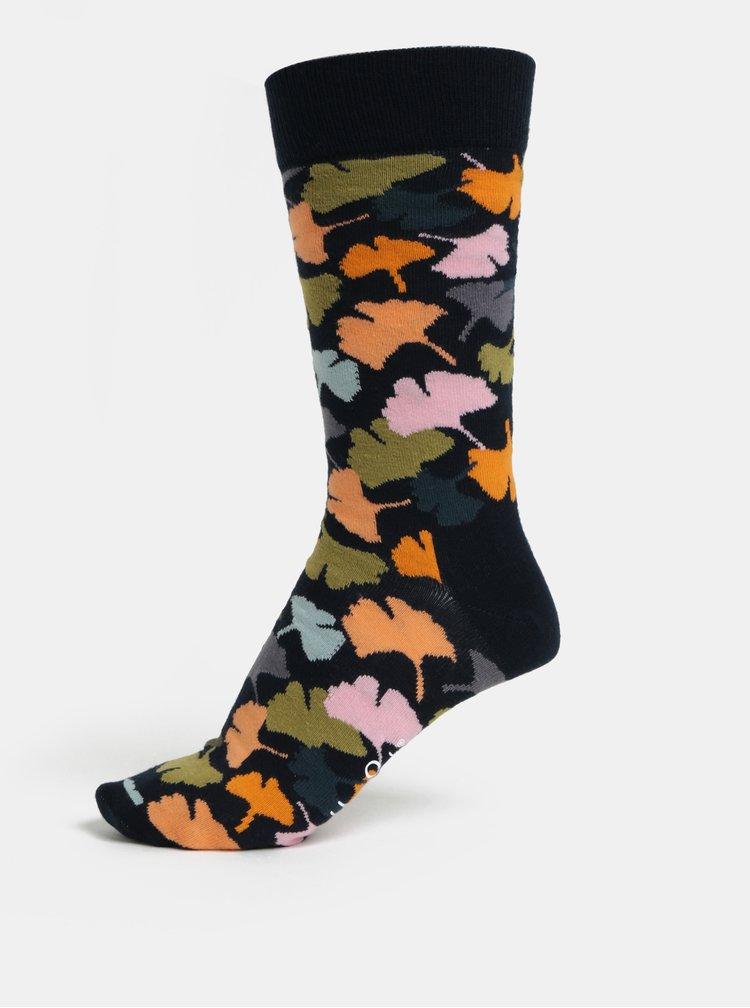 Modré vzorované unisex ponožky Happy Socks Ginko