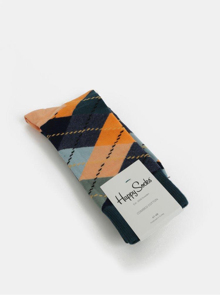 Oranžové-zelené pánské vzorované ponožky Happy Socks Argyle