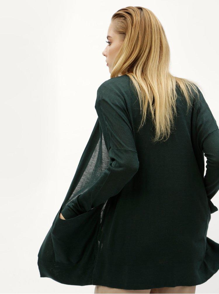 Tmavě zelený kardigan s kapsami ONLY Josephine