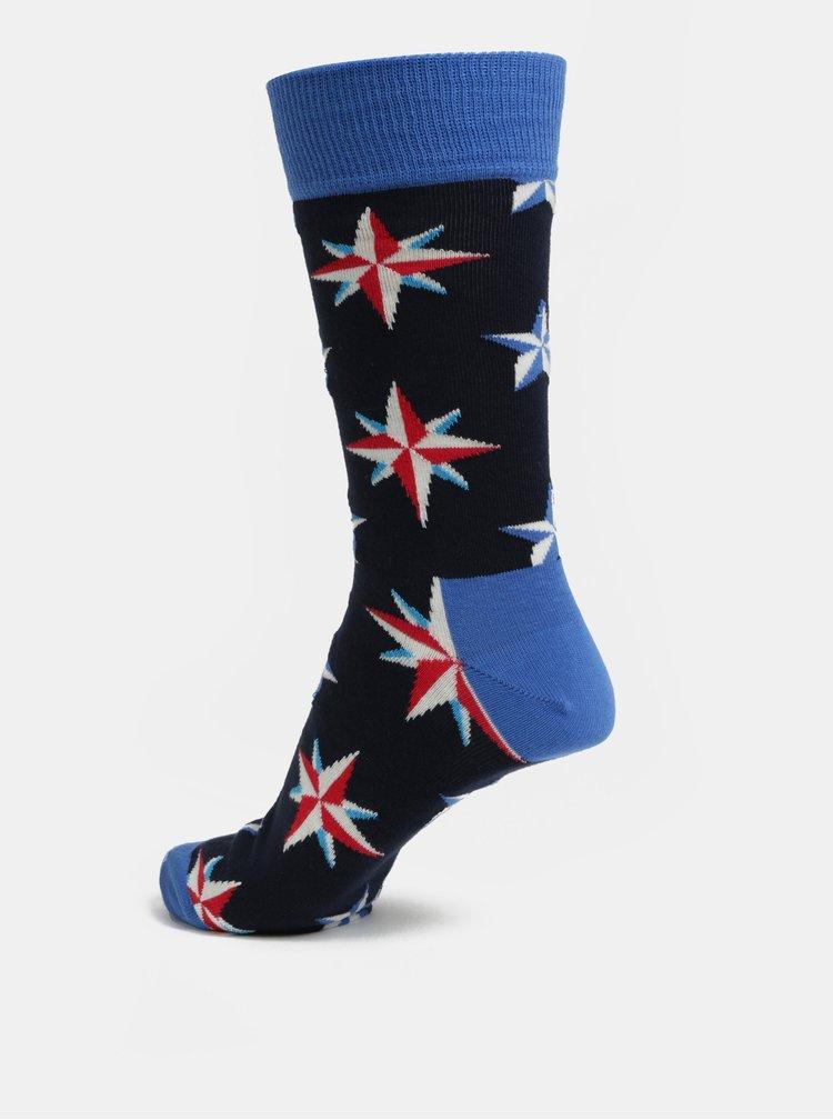Modré pánské vzorované ponožky Happy Socks Nautical Star Sock