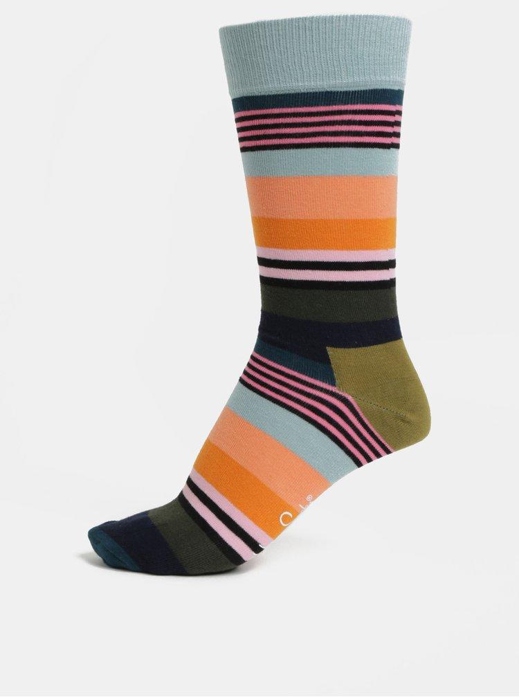 Modro-oranžové pánské ponožky Happy Socks Multi Stripe