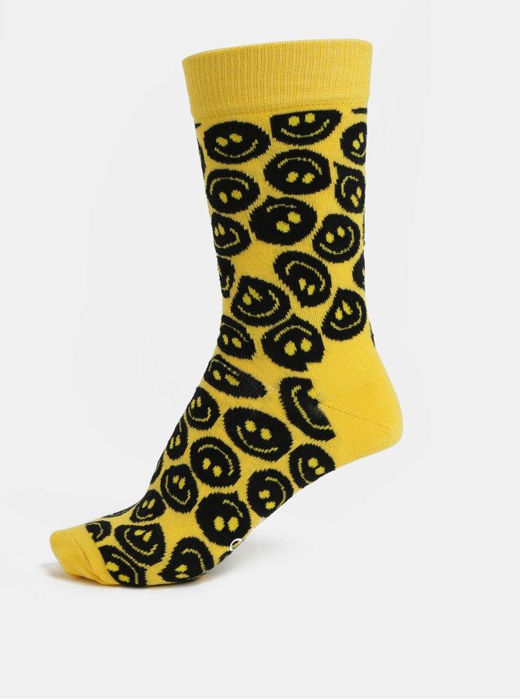 Žluté dámské vzorované ponožky Happy Socks Twisted Smile