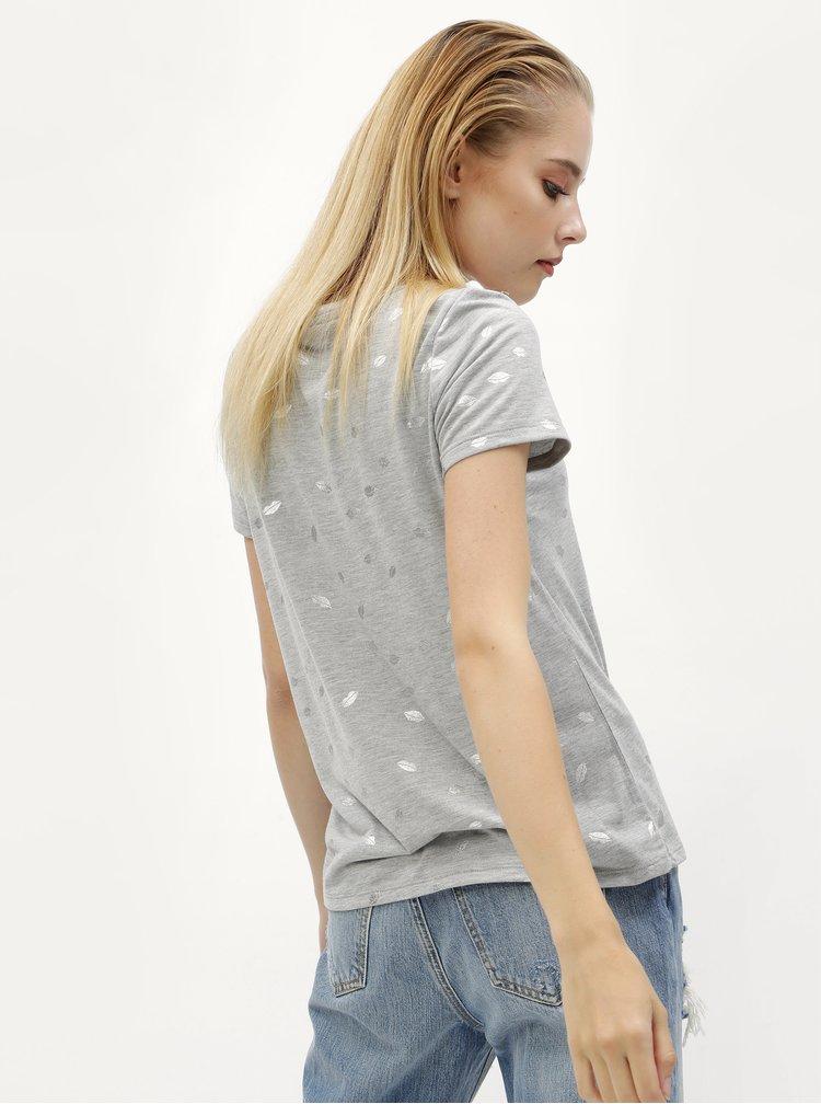 Šedé žíhané tričko s motivem rtů ONLY Isabella