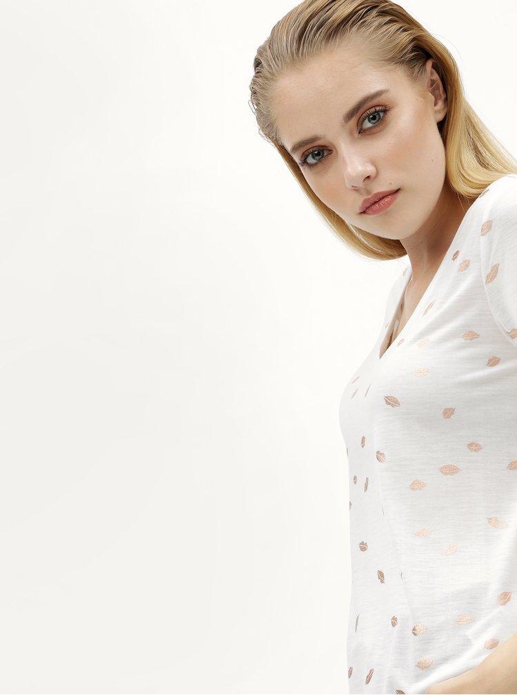 Bílé tričko s motivem rtů ONLY Isabella
