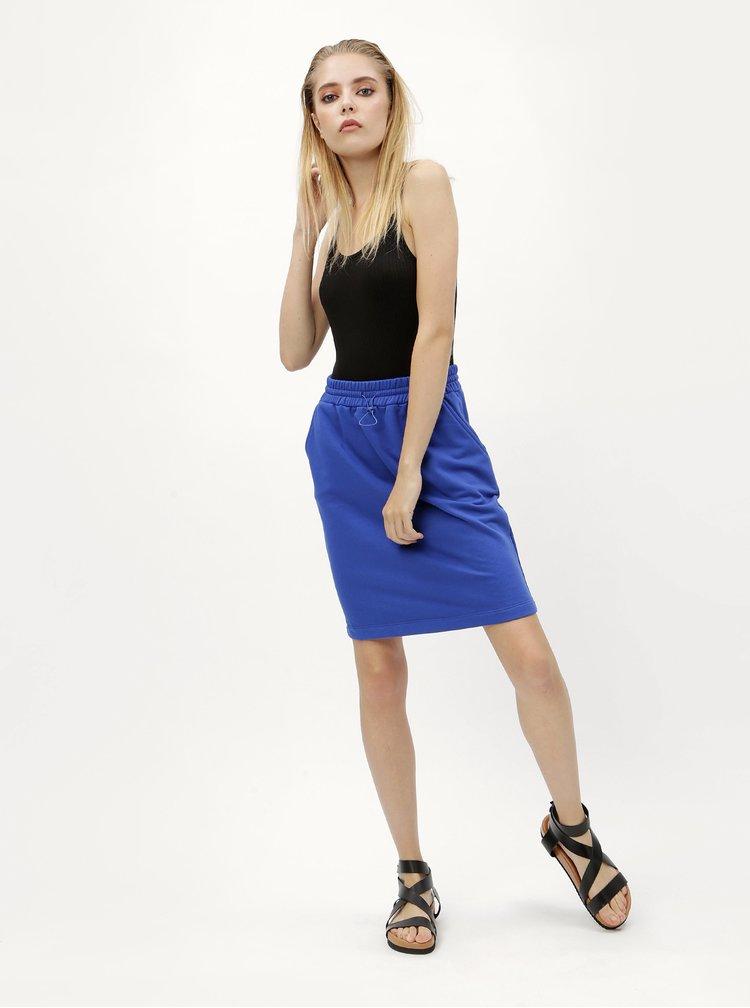 Modrá sukňa so sťahovaním v páse Moss Copenhagen