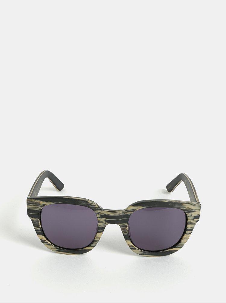 Béžovo-sivé melírované slnečné okuliare Pieces Goyo