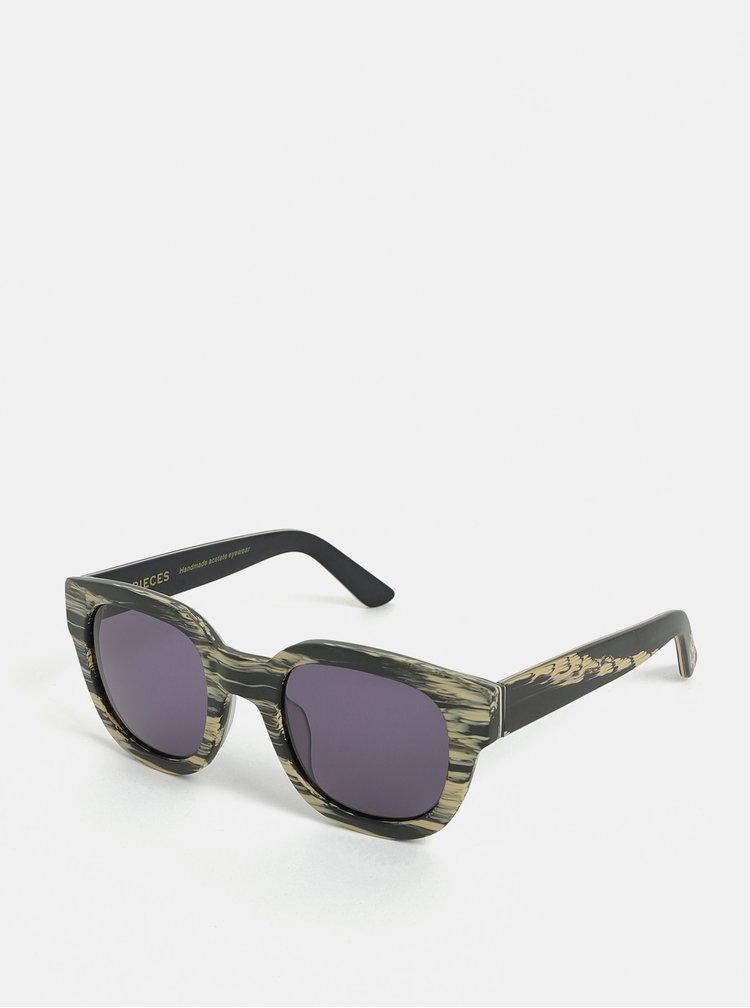 Béžovo-šedé žíhané sluneční brýle Pieces Goyo