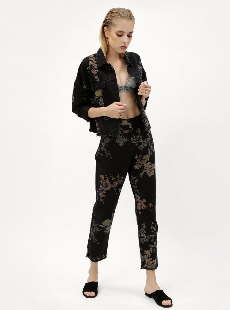 Jacheta din denim neagra cu print floral -  Noisy May Cho