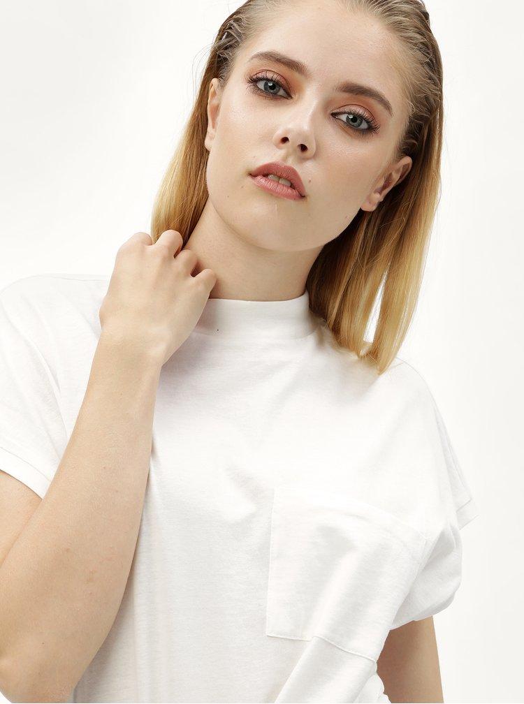 Bílé tričko s náprsní kapsou Noisy May Sia