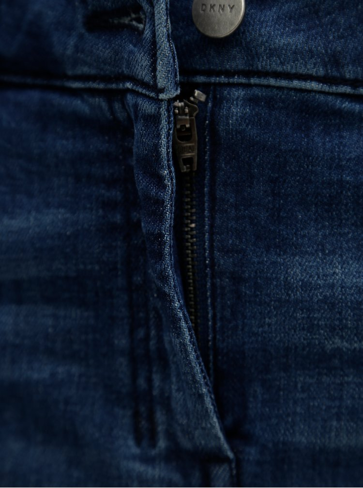 Fusta albastra din denim cu snur in talie DKNY