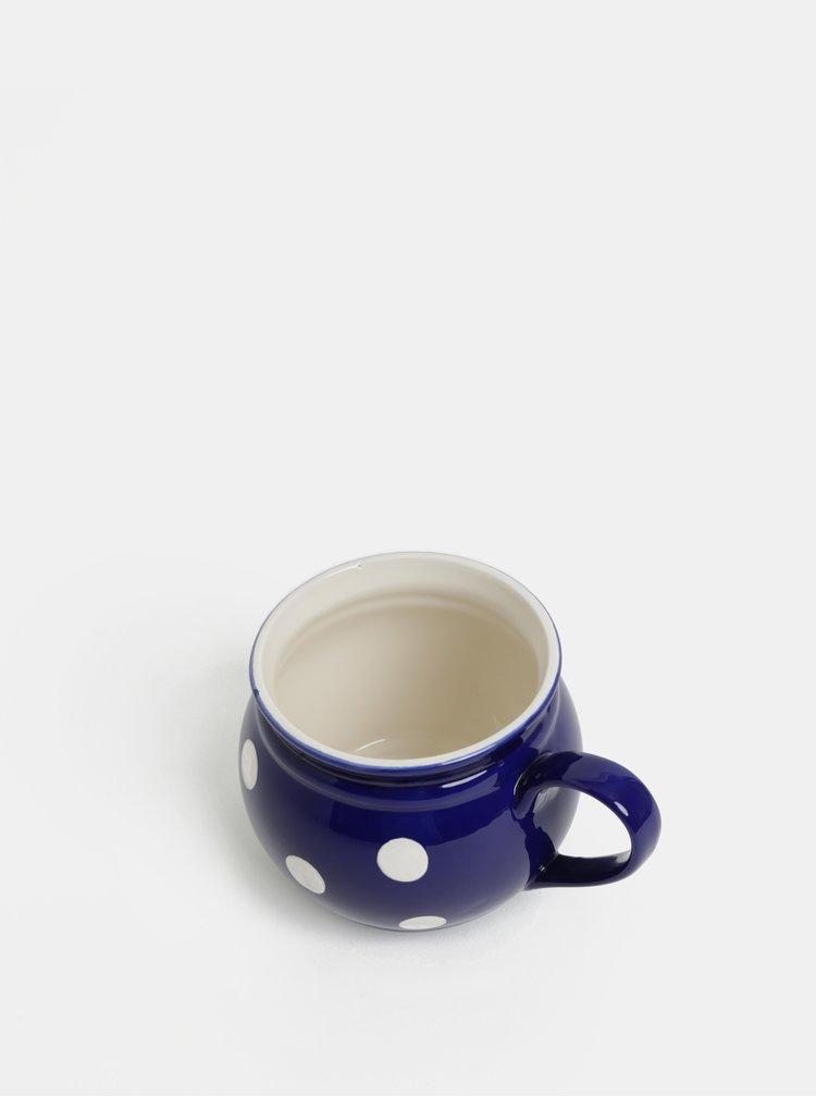 Modrý keramický hrnek s puntíky Dakls