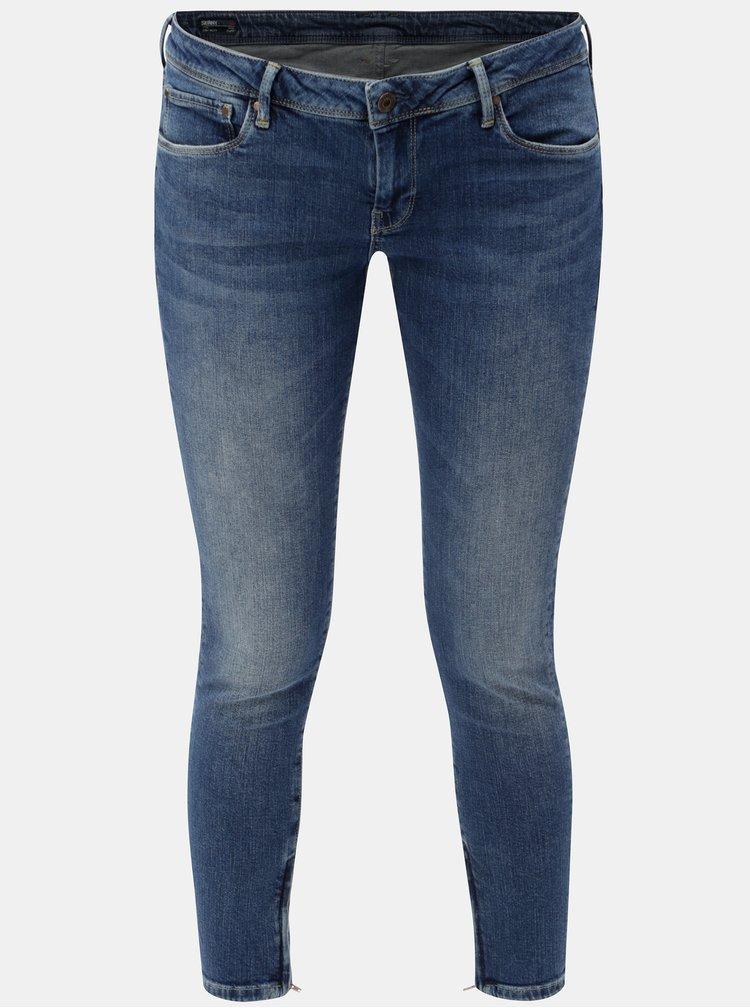 Blugi de dama albastri skinny crop din denim cu fermoari pe picioare Pepe Jeans Cher