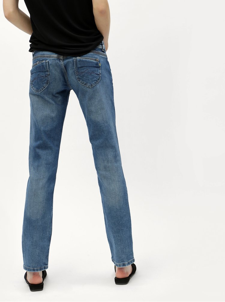 Blugi albastri straight din denim Pepe Jeans Venus