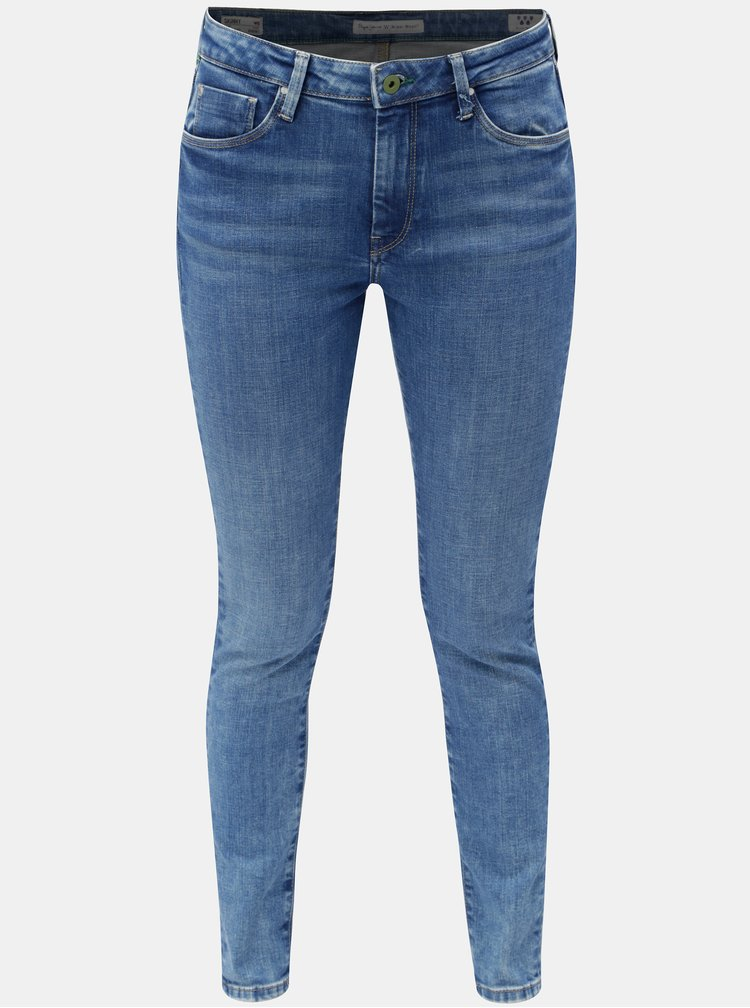 Blugi de dama albastri skinny din denim cu talie inalta Pepe Jeans Regent
