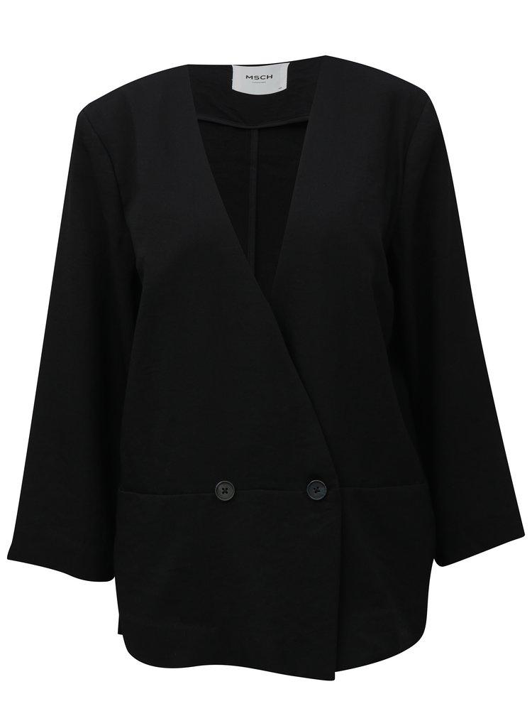Černé volné sako s knoflíky Moss Copenhagen