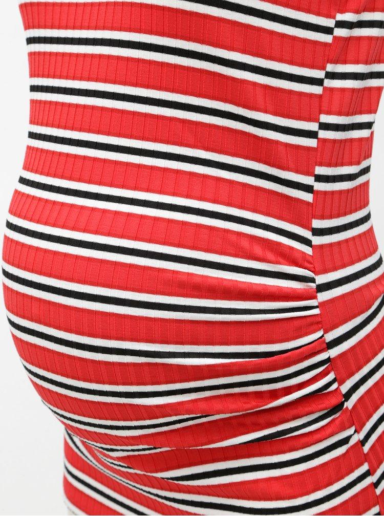 Bílo-červené těhotenské pruhované tílko Dorothy Perkins Maternity