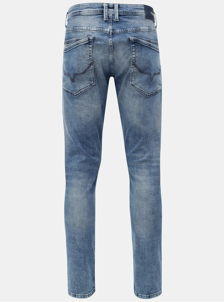 Blugi barbatesti albastri regular din denim Pepe Jeans