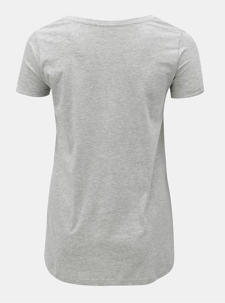 Šedé žíhané tričko s výšivkou Zizzi