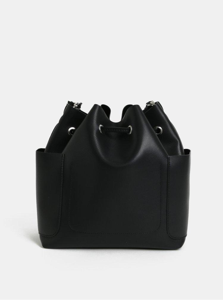 Geanta bucket neagra cu bareta detasabila Pieces Freja