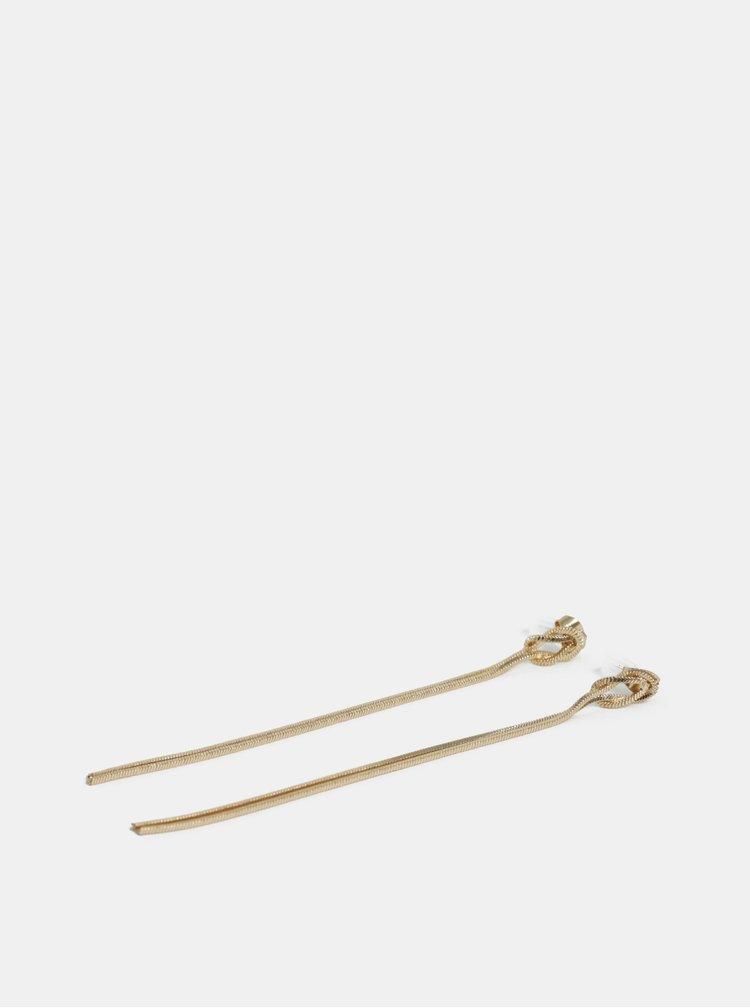 Visací náušnice s uzly ve zlaté barvě Pieces Tonja