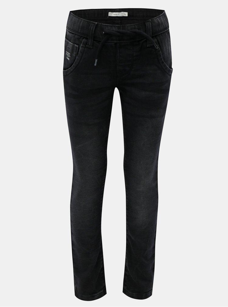 Černé klučičí kalhoty s elastickým pasem Name it