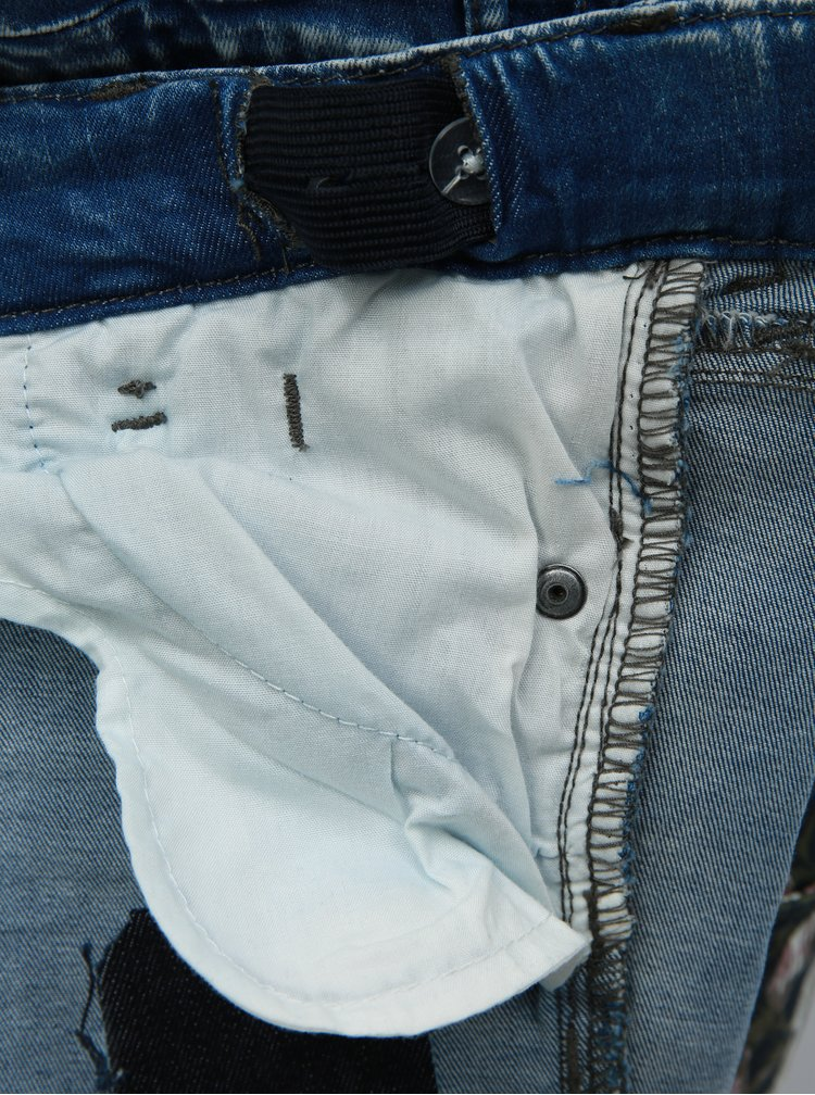 Modré holčičí skinny džíny s potrhaným efektem Name it