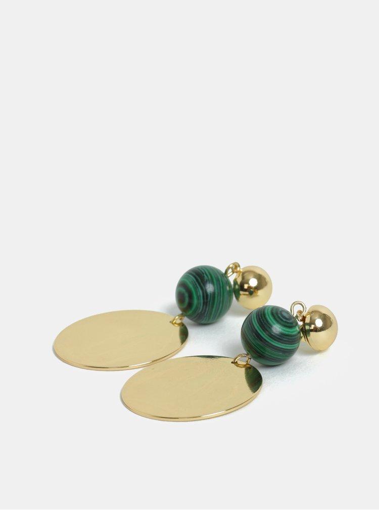 Visací kulaté náušnice ve zlaté barvě s korálky Pieces Joella