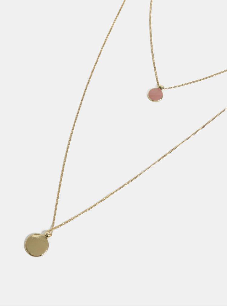Náhrdelník ve zlaté barvě s růžovým přívěskem Pieces Trine