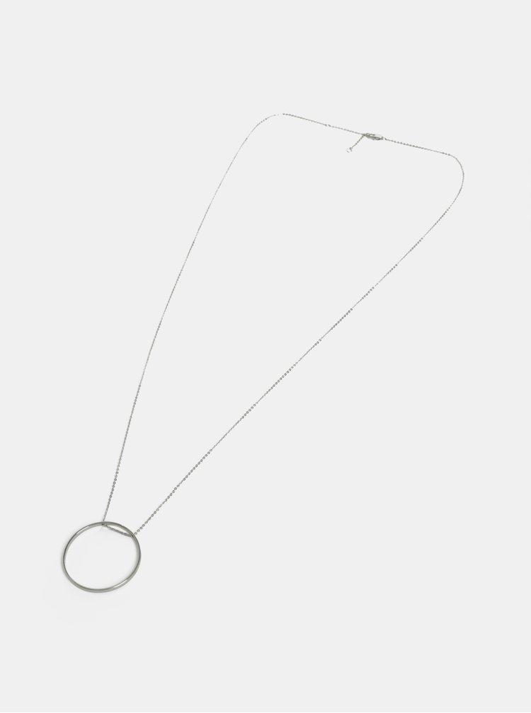 Náhrdelník ve stříbrné barvě s kruhovým přívěškem Pieces Twinky