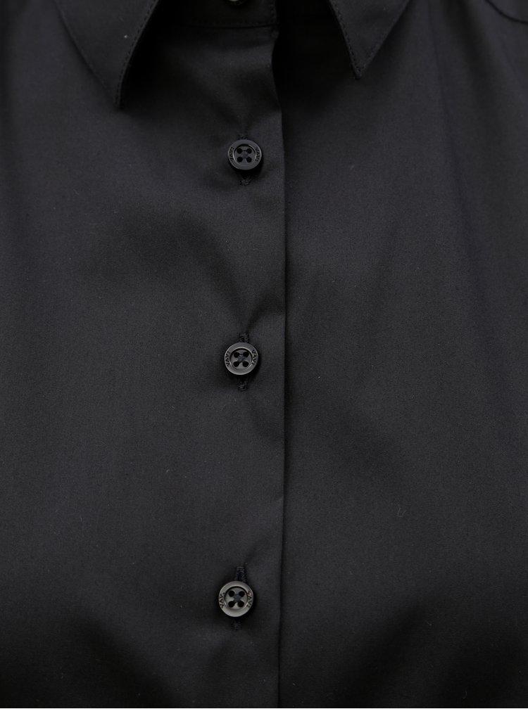 Černé volné košilové šaty s dlouhým rukávem VAVI