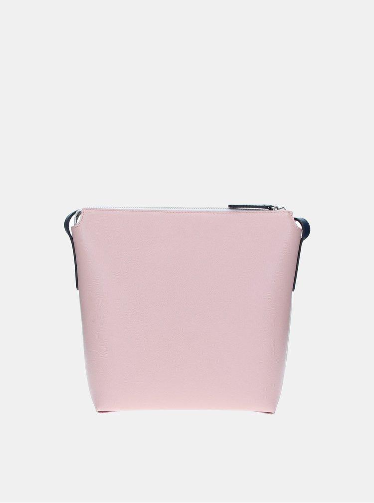 Růžovo-bílá kožená kabelka ELEGA