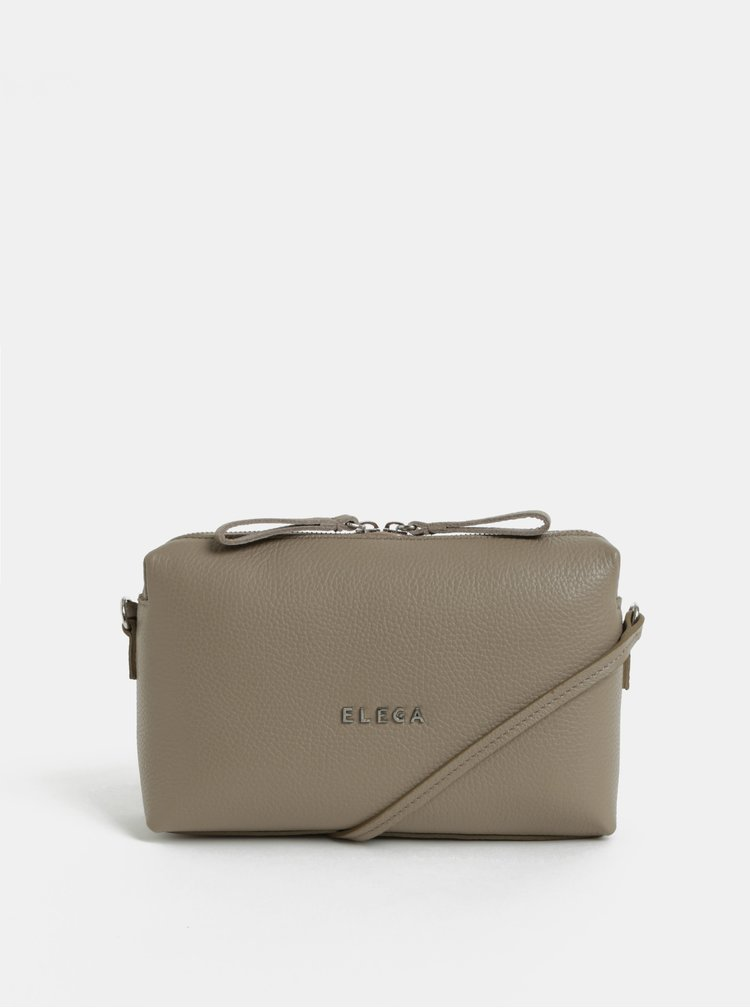 Hnědá kožená kabelka ELEGA