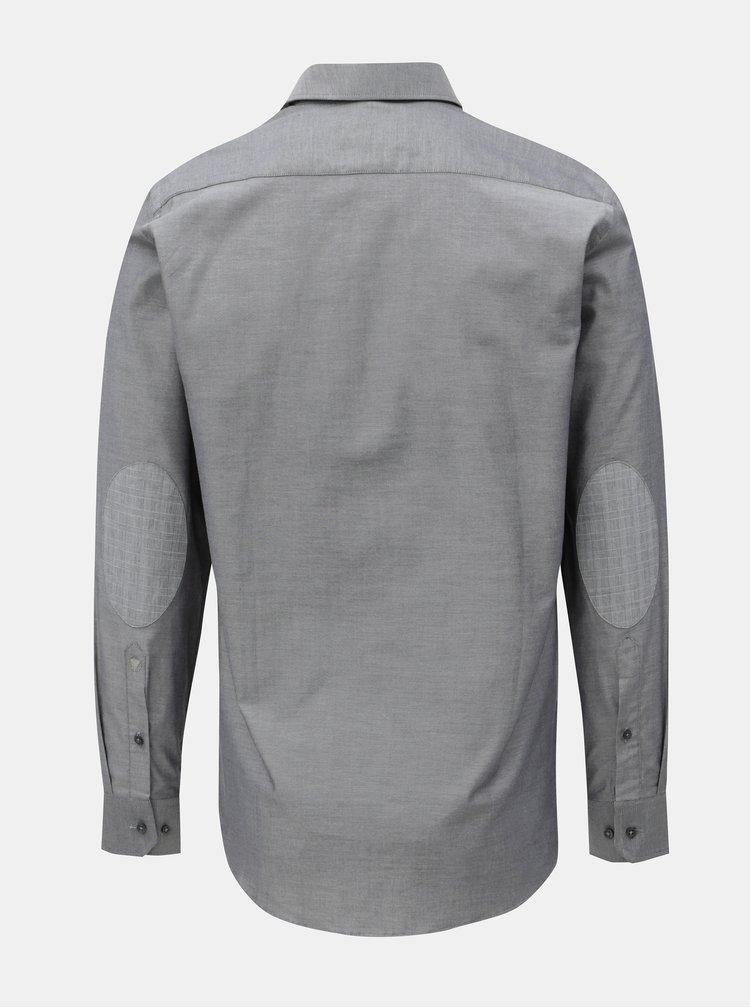 Šedá pánská košile se záplatami na loktech VAVI