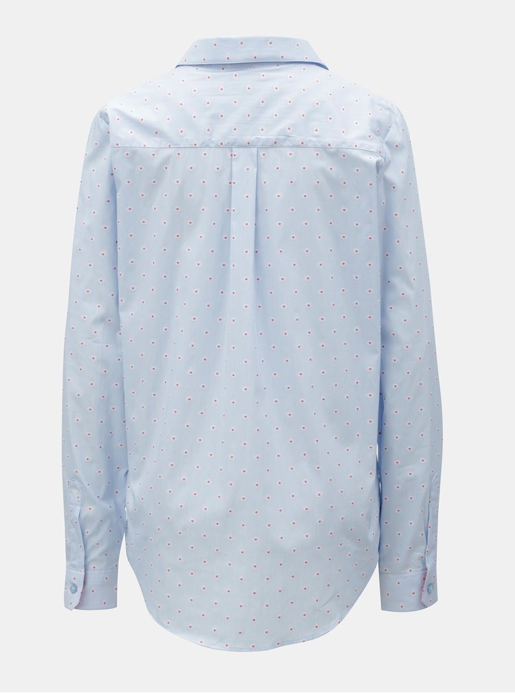 Světle modrá dámská květovaná košile s rozhalenkou VAVI