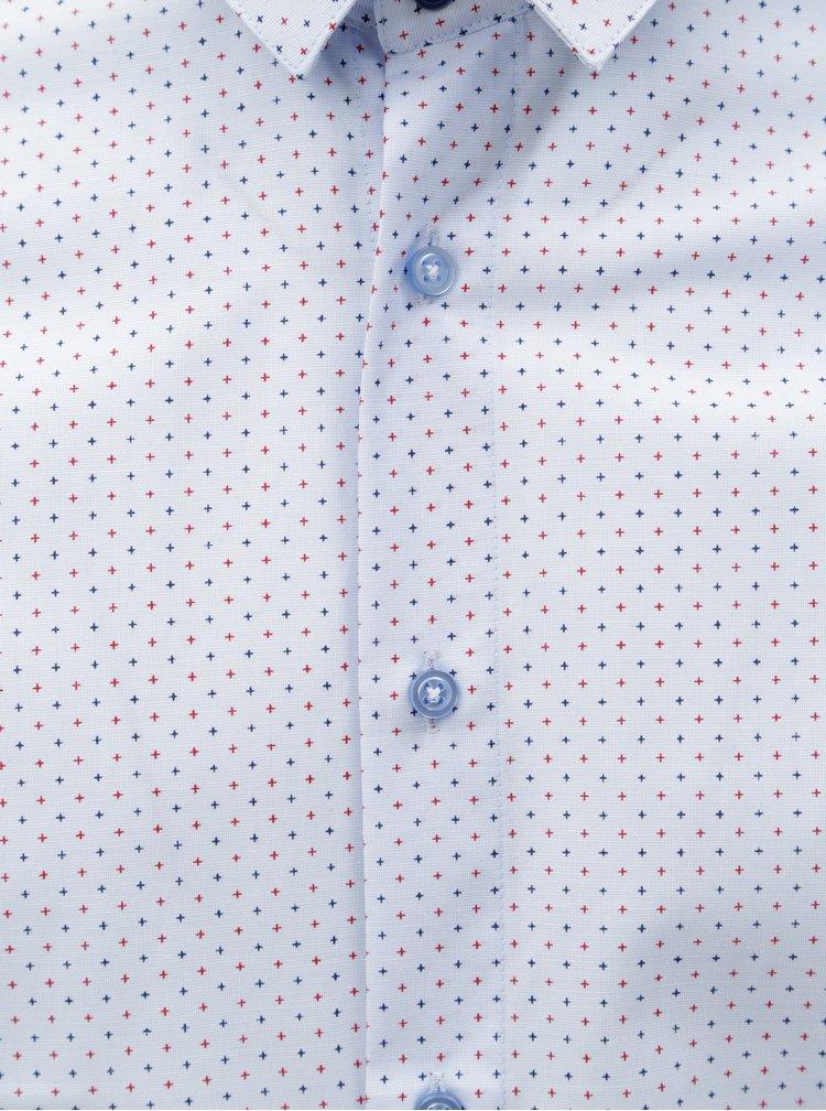 Světle modrá pánská vzorovaná formální košile VAVI