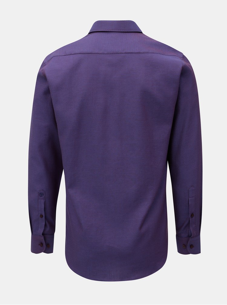 Tmavě fialová pánská vzorovaná formální košile VAVI