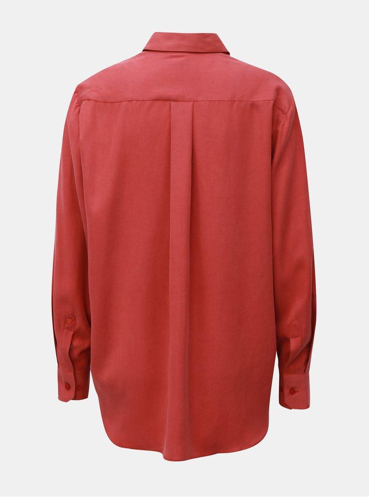 Červená dámská volná košile s vázankou VAVI