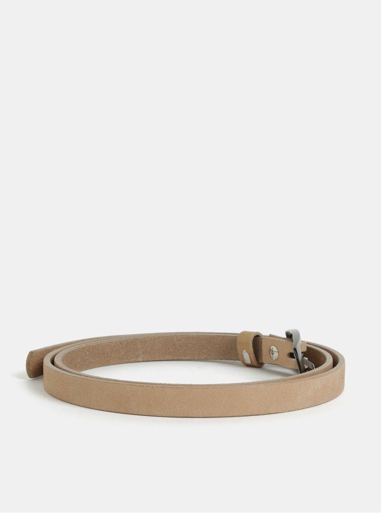 Tmavě béžový dámský úzký kožený pásek KARA