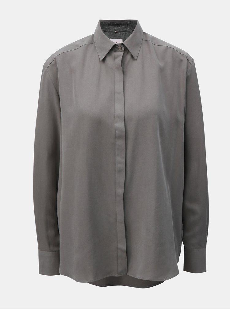 Šedá dámská volná košile s prodlouženou zadní částí VAVI