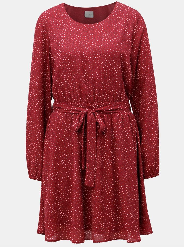 Vínové vzorované šaty s páskem VILA Lucy