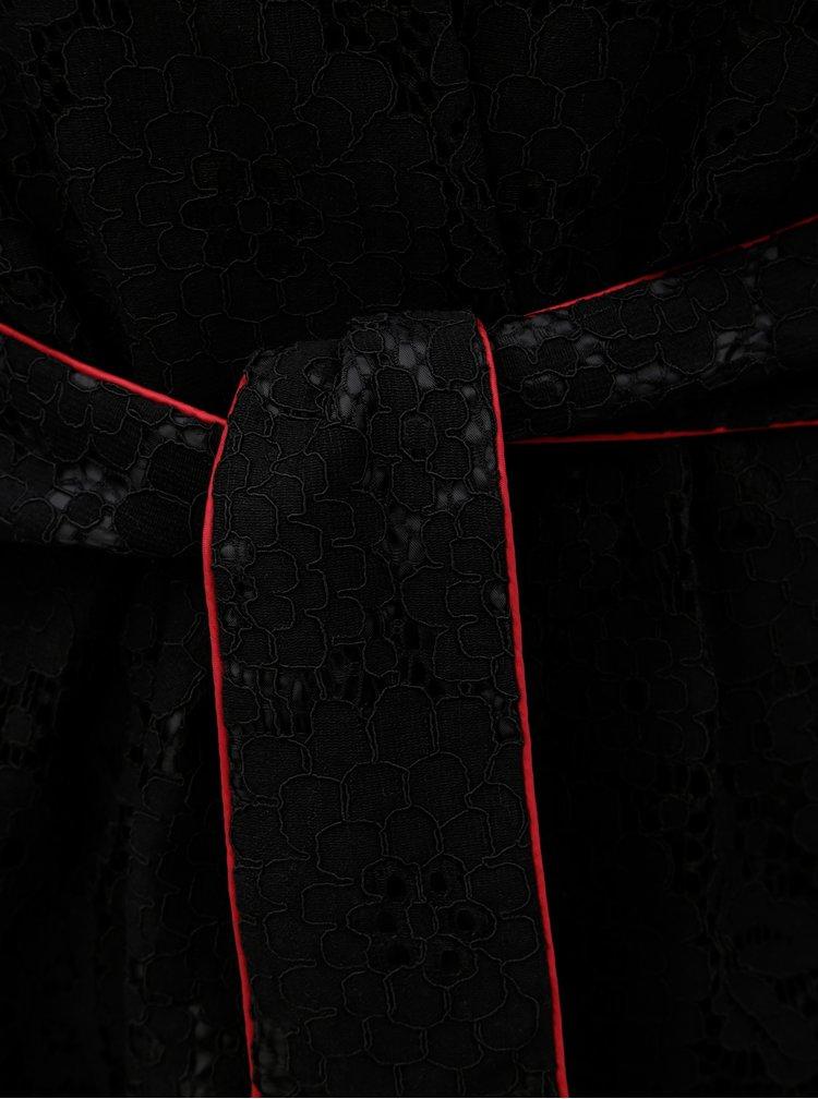 Chimono negru din dantela cu cordon VILA Luas