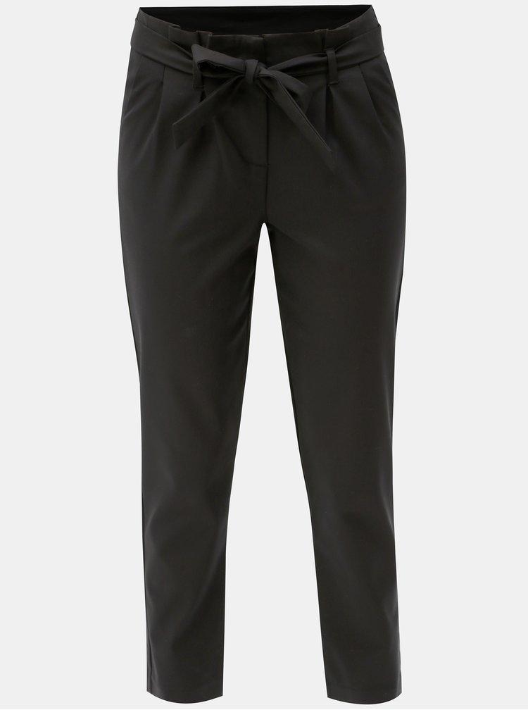 Černé zkrácené kalhoty s páskem VILA Beathe