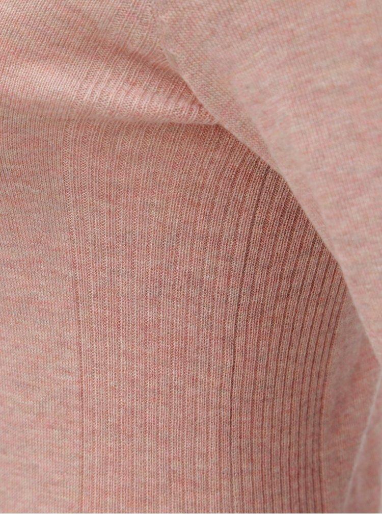 Pulover roz melanj cu guler inalt VERO MODA Ellie