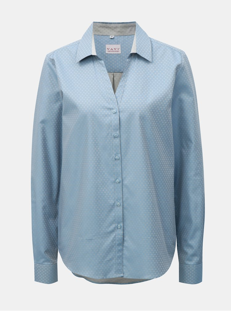 Světle modrá dámská košile s drobným vzorem a rozhalenkou VAVI