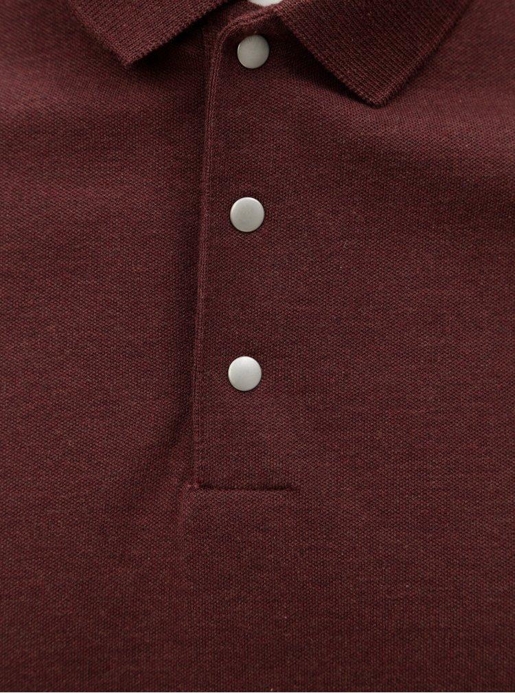 Vínové žíhané polo tričko Selected Homme