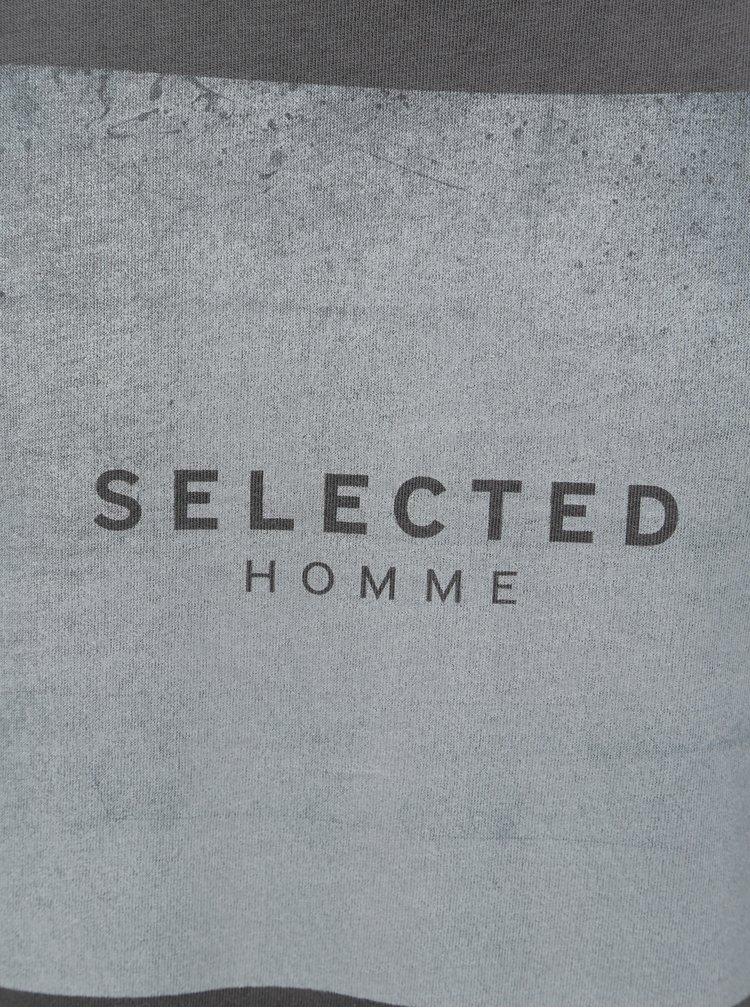 Šedé tričko s potiskem Selected Homme