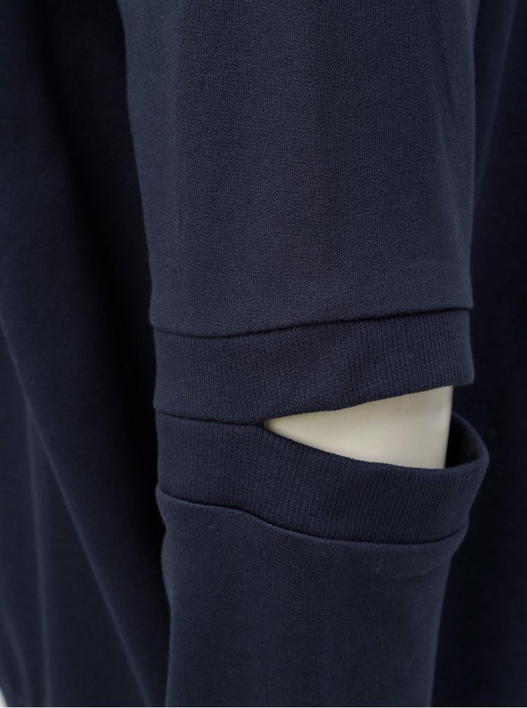 Tmavě modrá volná mikina s průstřihy na rukávech Noisy May