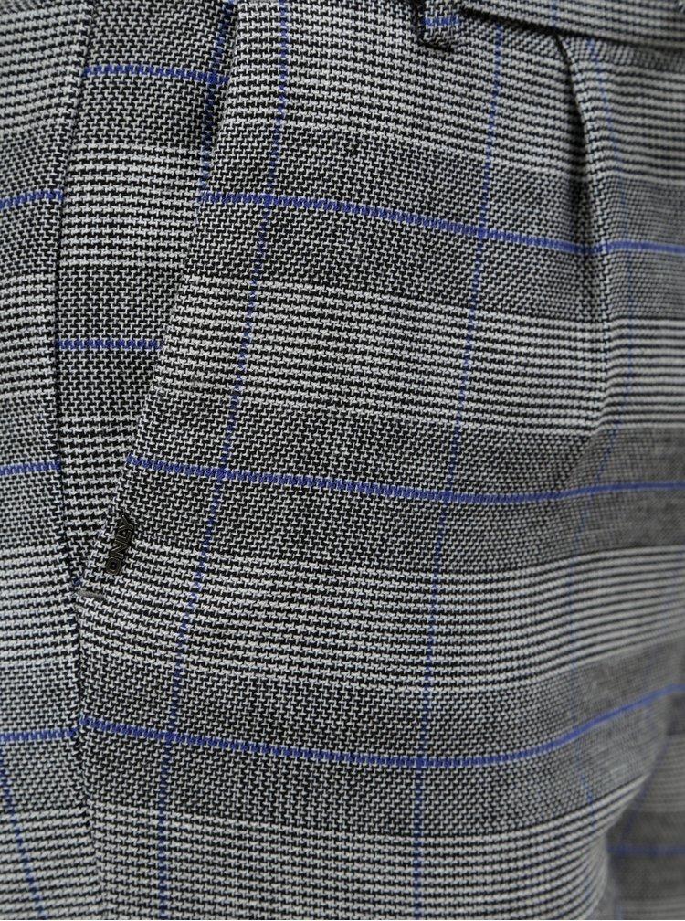 Šedé kostkované kalhoty s vysokým pasem ONLY Poptrash