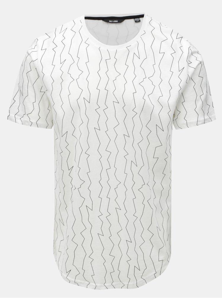 Bílé tričko s nepravidelným potiskem ONLY & SONS
