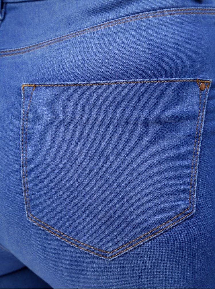 Modré super skinny džíny s vysokým pasem Dorothy Perkins